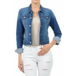 Women's Plus Size, Cropped Denim Jackets Long Sleeve Jean Co