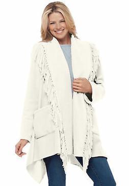 Woman Within Women's  Plus Size Fringed Shawl Collar Fleece