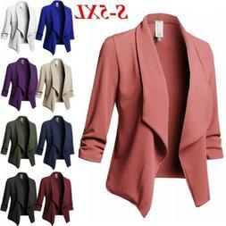 Women's Plus Size Lapel Suit Jacket Solid Coat Open Front Bl