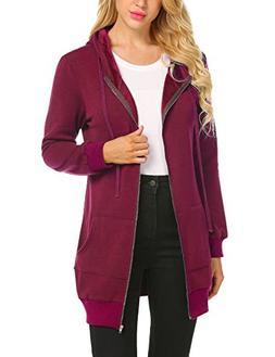 Zeagoo Women's Pluse Size Hooded Sweatshirt Jacket,Dark Red,