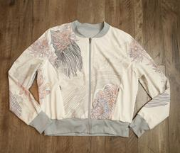 ZELLA Women's Reversible Jacket - LARGE - Light Gray Floral