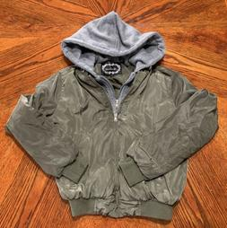 Ambiance women's Size S Small Cropped Hoodie Bomber Jacket Z