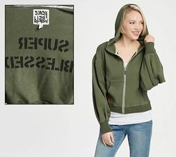 Peace Love World Women's Small Olive Novelty Sleeve Zip Hood