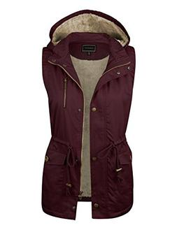 makeitmint Women's Soft Faux Fur Lined Anorak Utility Hooded