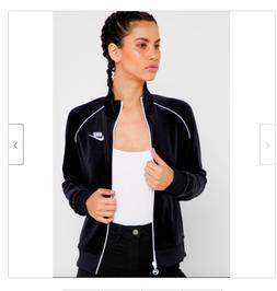 Nike Women's Sportswear Velour Full Zip Jacket Black White C