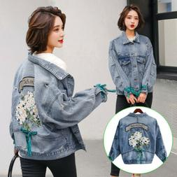 Women's Stretch Embroidery Blue Denim Jacket Loose Casual Cl