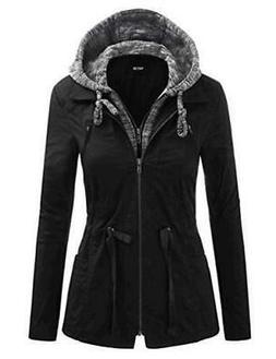 FASHION BOOMY Women's Zip Up Safari Military Anorak Jacket,
