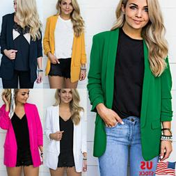 women solid color long sleeve blazer ladies