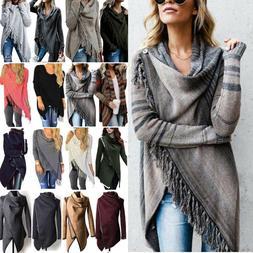Women Tassel Irregular Knitted Cardigan Sweater Poncho Shawl