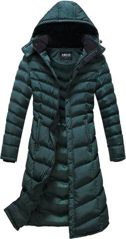 "ELORA Women Winter Warm 40""  Quilted Puffer Coat Hooded Jack"