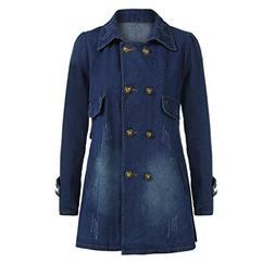 Women Coat, New Hot Sale Fashion Casual Long Sleeve Denim Ja