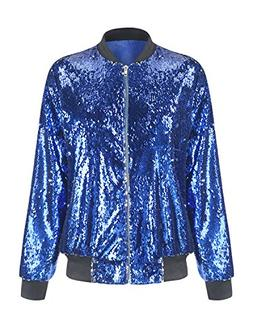 HaoDuoYi Womens Casual Lightweight Sequin Zipper Bomber Jack