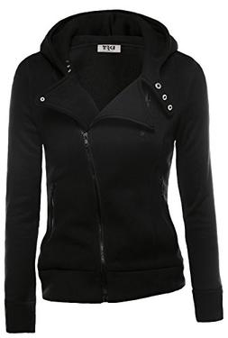 DJT Womens Casual Oblique Zipper Hoodie Jacket Coat Medium B