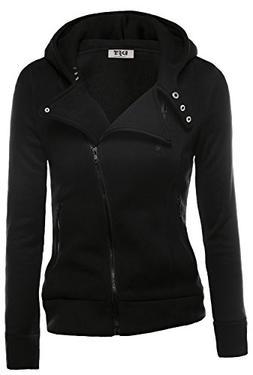 DJT Womens Casual Oblique Zipper Hoodie Jacket Coat Medium B