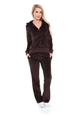 Womens Comfortable and Stylish Velour 2 Piece Tracksuit Set
