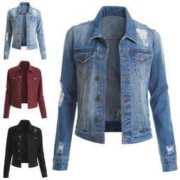 Womens Denim Jackets Long Sleeve Button Coat Lapel Collar Ou
