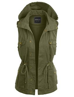 LE3NO Womens Drawstring Waist Hoodie Military Anorak Vest wi