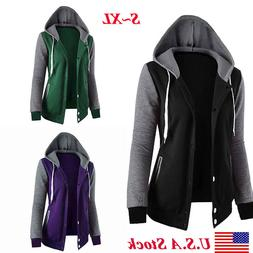 Womens Fashion Classic Long Sleeve Hoodie Zipper Hooded Jack