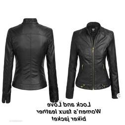 Lock And Love Women's Faux Leather Biker Jacket, Size medi