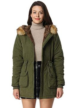womens hooded coat faux fur lined jacket