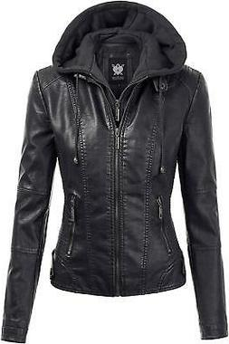 Lock and Love Womens Hooded Faux Leather MotoBiker Jacket Bl