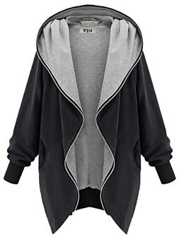 DJT Womens Hooded Zip-up Sweatshirt Coat Jacket X-Large Blac