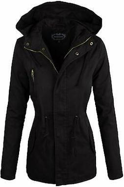 Ambiance Womens Jacket Black Size Large L Hoodie Drawstring
