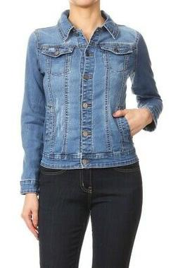 Women's Juniors Premium Stretch Denim Long Sleeve Jacket