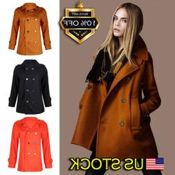 Womens Ladies Wool Blend Pea Coat Outwear Hip Length Jacket