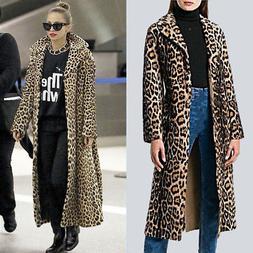 Womens Leopard Color Warm Faux Fur Jacket Coat Super Long Ou