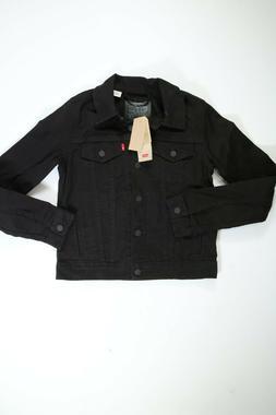 Womens Levi's Black Denim Original Trucker Jacket Small S NE