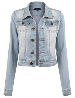 BEKTOME Womens Long Sleeve Button Up Cropped Denim Slim Fit