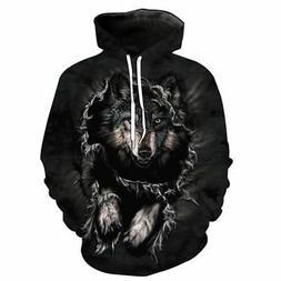 Womens Mens Hoodie 3D Wolf Novelty Sweatshirt Coat Jacket Pu