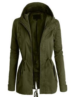 LE3NO Womens Military Anorak Safari Jacket with Pockets