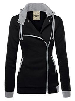 DJT Womens Oblique Zipper Slim Fit Hoodie Jacket Small Black