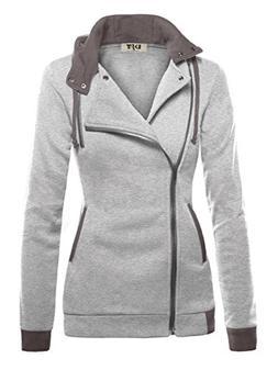 DJT Womens Oblique Zipper Slim Fit Hoodie Jacket XX-Large Li