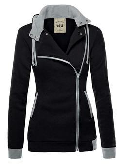 DJT Womens Oblique Zipper Slim Fit Hoodie Jacket.  Black. Sm