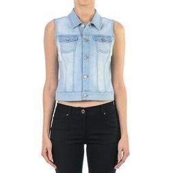 Women's Plus/Junior size Sleeveless Button Up Cropped Deni