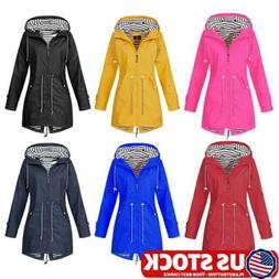 Womens Solid Color Outdoor Jacket Forest Waterproof Raincoat