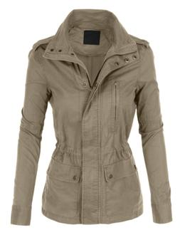 LE3NO Womens Stand Collar Safari Anorak Jacket with