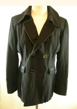 Womens sz XL Moda International Peacoat Pea Coat Wool Black