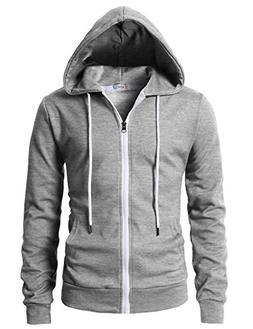 H2H Mens Zip Up Hoodie/Hooded Jacket Gray US M/Asia L