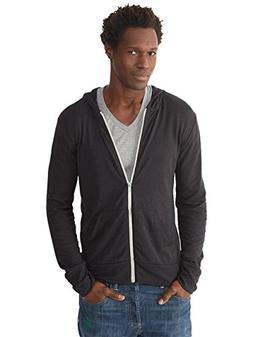 Alternative Men's Eco Zip Hoodie Sweatshirt Shirt, Black, X-