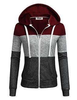 Zip Up Jacket Women, DJT Women's Color Block Long Sleeve Zip