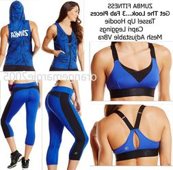ZUMBA Mesh Adjustable VBra Top + Capri Leggings+Tassel Up Ho
